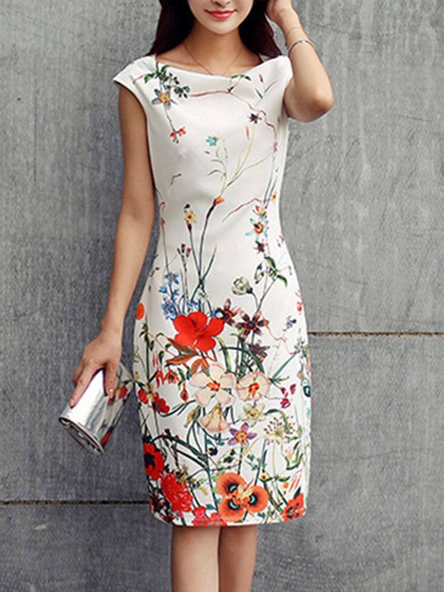 Cowl Neck  Floral Printed Bodycon Dress