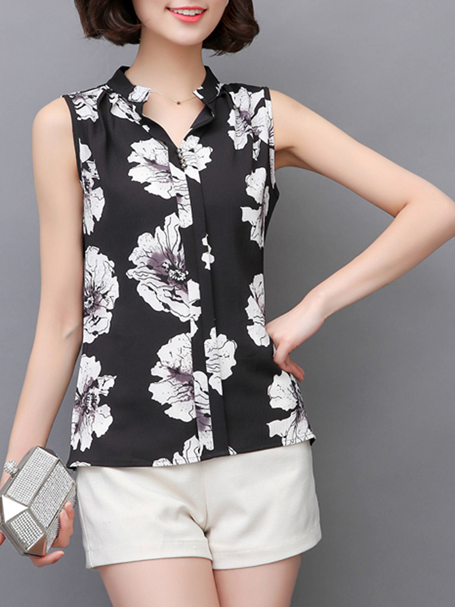 Split Neck Floral Printed Sleeveless T-Shirt