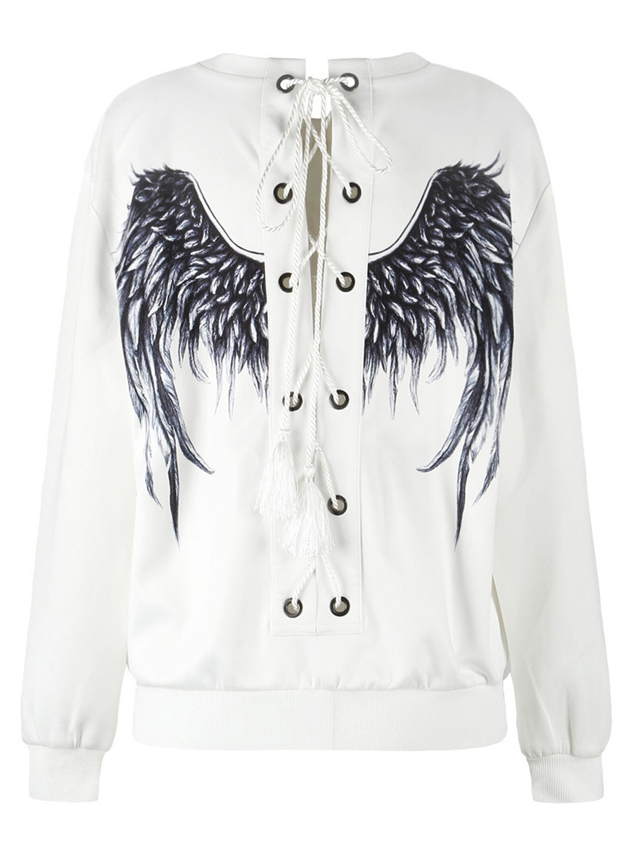 Lace-Up Wings Printed Round Neck Sweatshirt