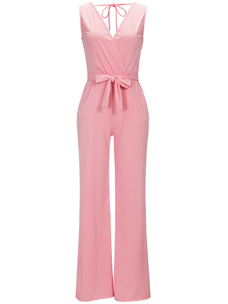Deep V-Neck Bowknot Plain Pocket Wide-Leg Jumpsuit