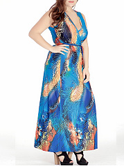 Deep V-Neck Printed Sleeveless Plus Size Maxi Dress