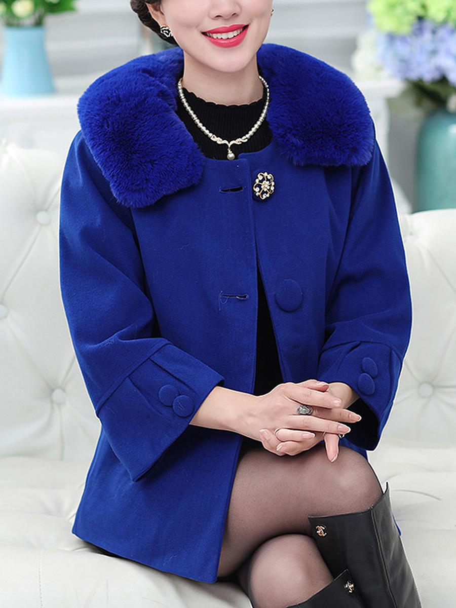 Detachable Faux Fur Collar Single Breasted Plain Woolen Coat