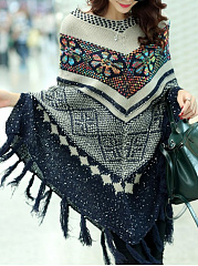 Deep V-Neck  Printed  Cape Sleeve Cape