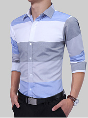 Color Block Striped Men Shirts