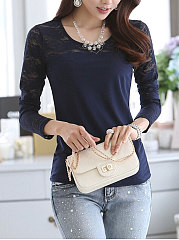 Autumn Spring  Polyester  Women  Round Neck  Decorative Lace See-Through  Plain Long Sleeve T-Shirts