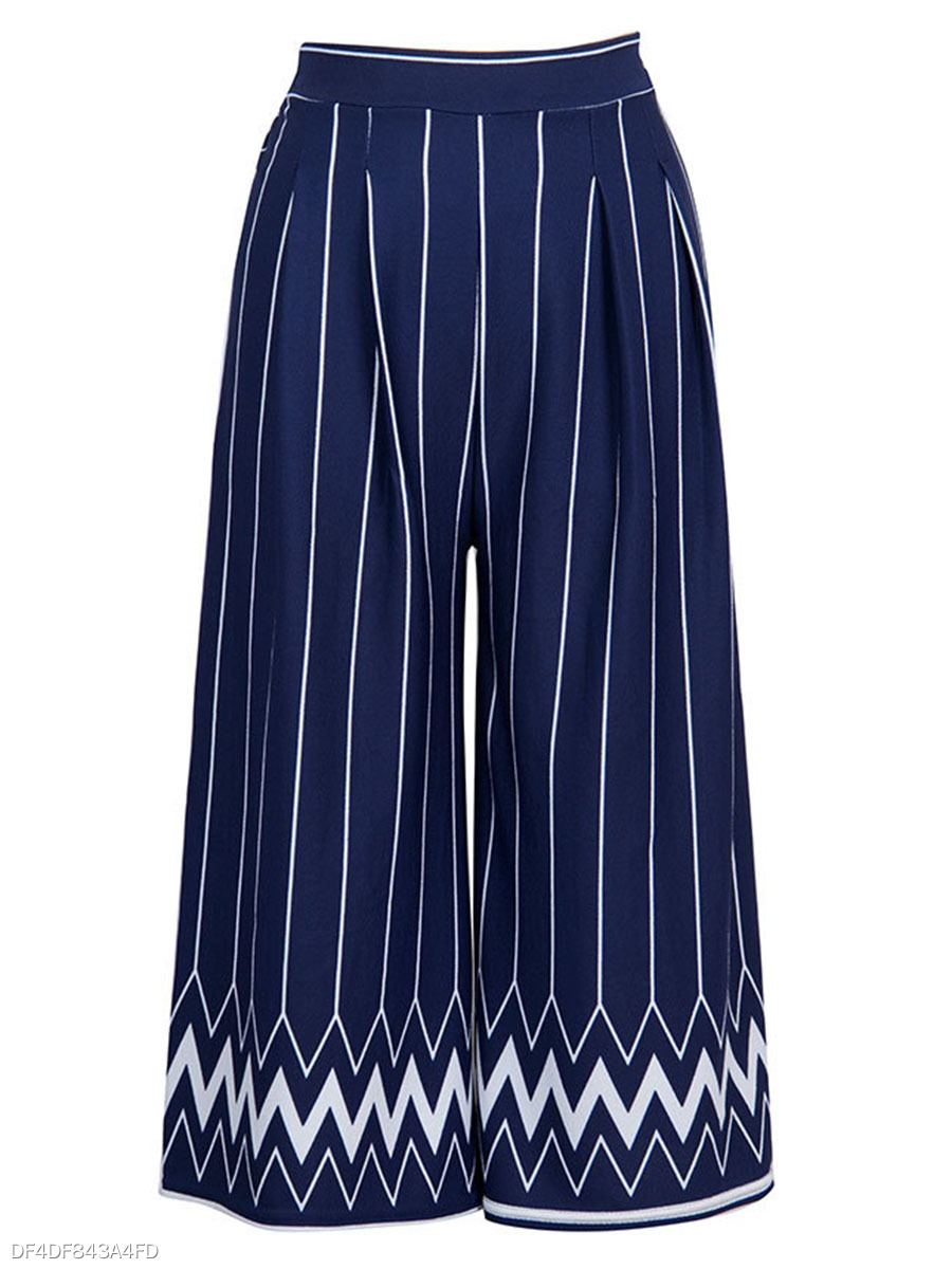 Zigzag Striped Cropped Wide-Leg Casual Pants