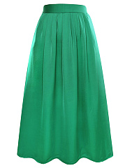 Plain Elastic Waist Flared Maxi Skirt