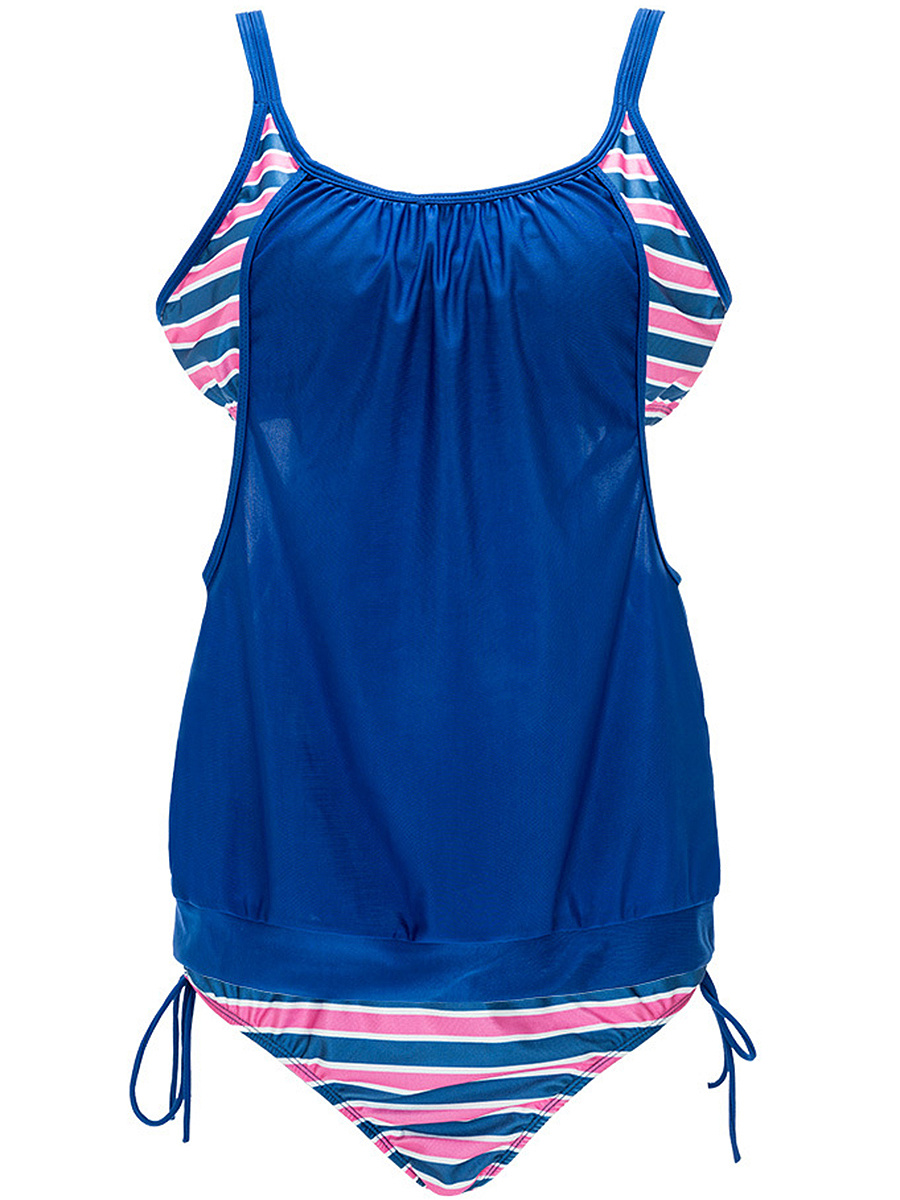 Spaghetti Strap Cutout Striped Designed Swimwear