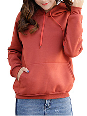 Autumn Spring  Cotton Blend  Plain  Long Sleeve Hoodies