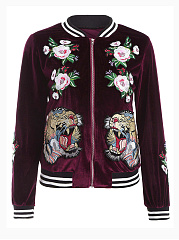 Band Collar  Embroidery  Long Sleeve Coats