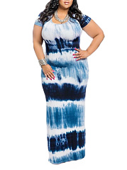 Round Neck  Gradient Printed Plus Size Midi  Maxi Dresses