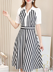 Turn Down Collar  Colouring Striped Skater Dress