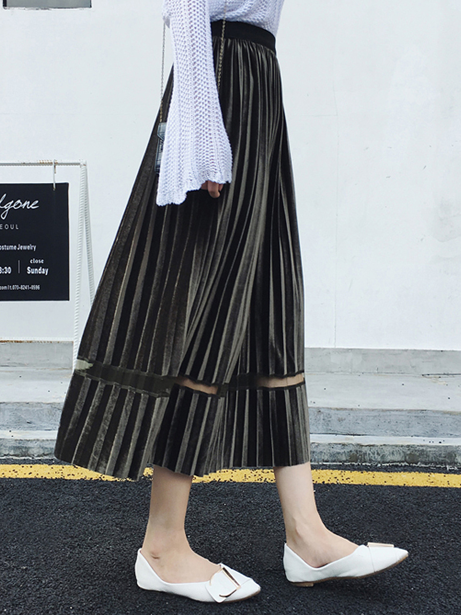 Hot Fashion Pleuche Cutout  Bohemian Plain  Flared Midi Skirts