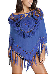 Round Neck  Crochet  Hollow Out Cover Ups
