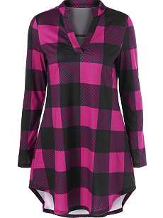 Autumn Spring  Polyester  Women  V-Neck  Color Block Plaid Long Sleeve T-Shirts