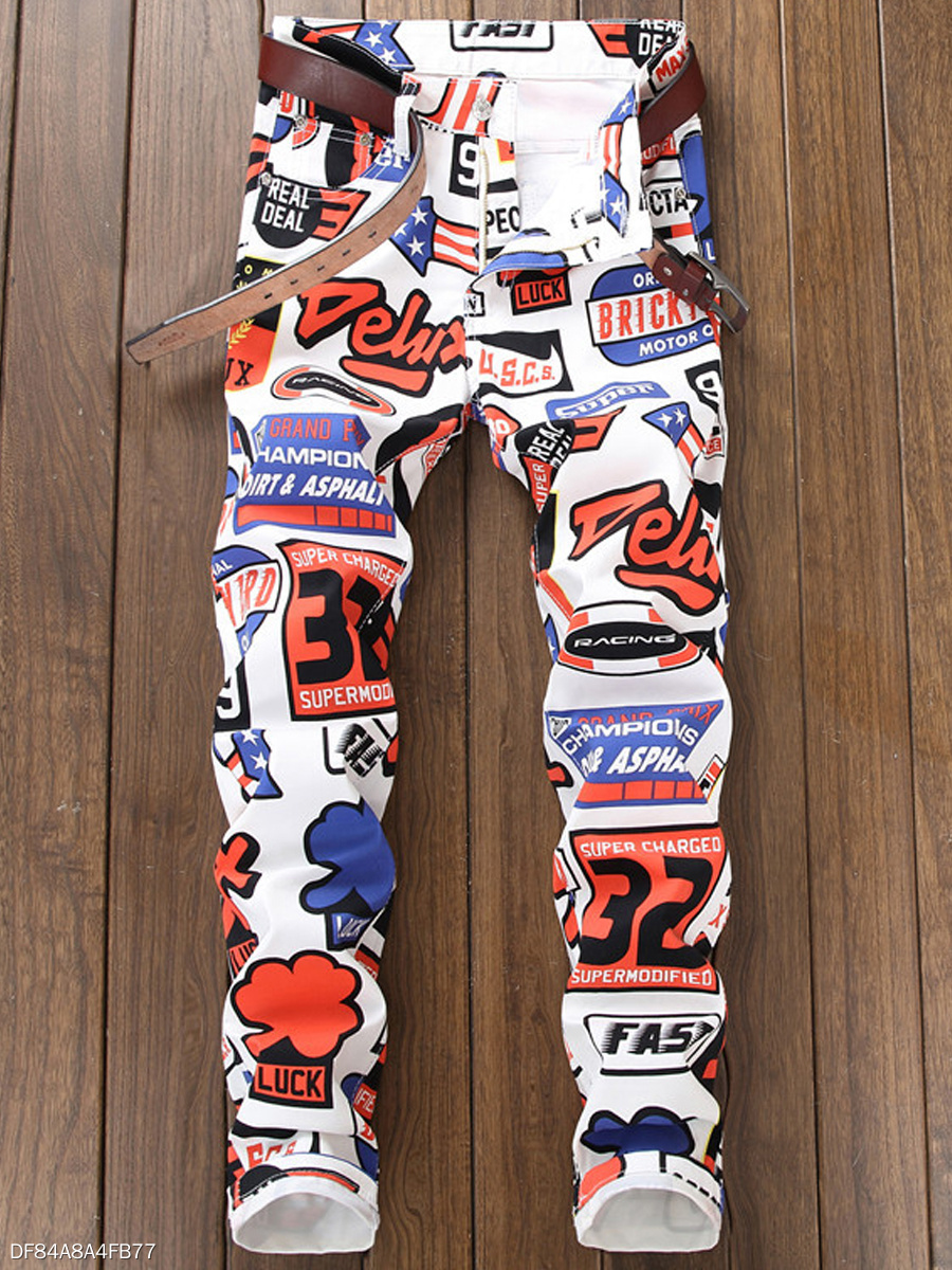 Abstract Print Letters  Slim-Leg  Mid-Rise Men's Jeans
