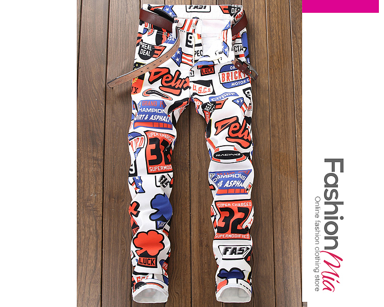 Image of Abstract Print Letters Slim-Leg Mid-Rise Mens Jeans