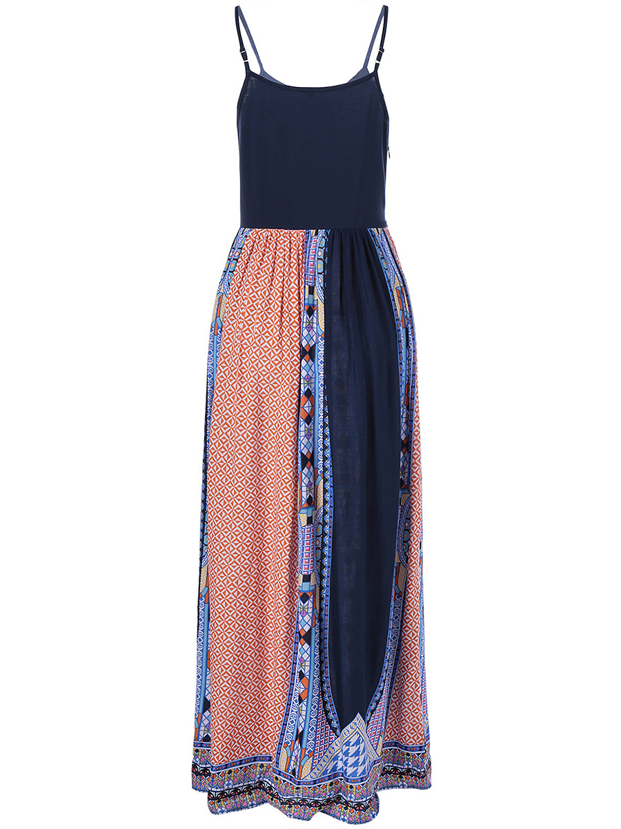 Spaghetti Strap Printed Sleeveless Maxi Dress