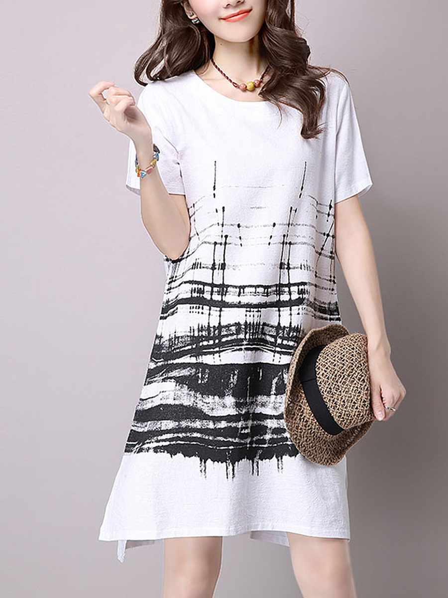 Round Neck Shift Dress In Abstract Print