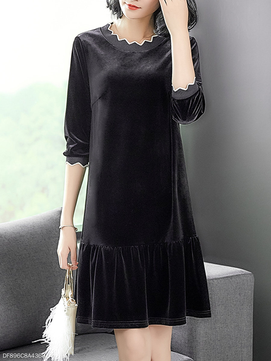 Asymmetric Neck  Ruffled Hem  Plain Shift Dress