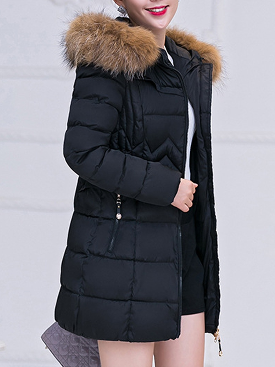 Hooded Quilted Plain Padded Coat