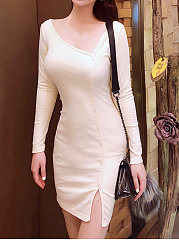 Asymmetric Neck  Single Breasted  Plain Bodycon Dress