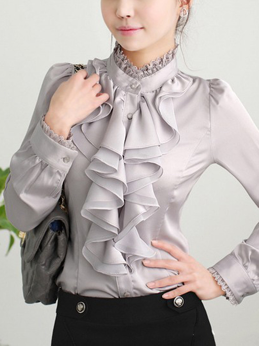 Chic Band Collar  Flounce  Plain Blouse