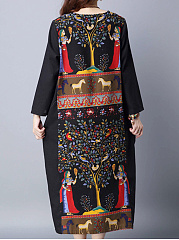Loose Tribal Printed Round Neck Maxi Dress