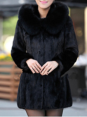 Luxury Black Hooded Faux Fur Coat
