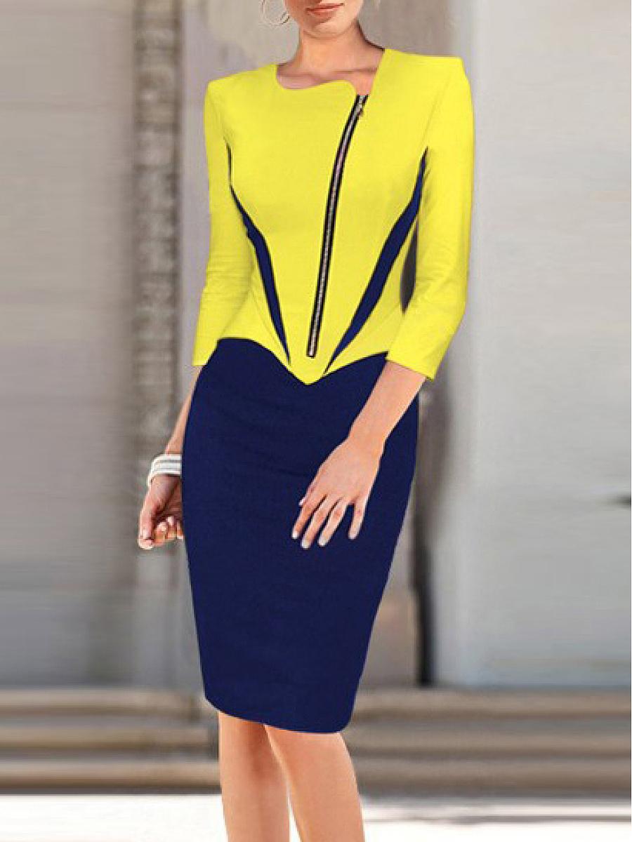 Asymmetric Neck  Colouring Bodycon Dress