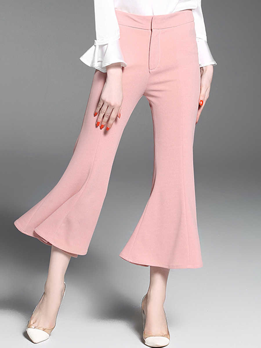 Solid Cropped Flared Casual Pants