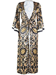 Halter Printed One Piece And Longline Kimono