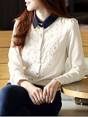 Autumn Spring  Polyester  Women  Single Breasted  Floral Plain  Long Sleeve Blouses