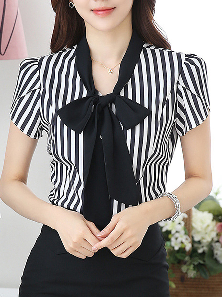 Tie Collar Vertical Striped Petal Sleeve Blouse