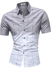 Turn Down Collar  Color Block Plaid  Short Sleeve Short Sleeves