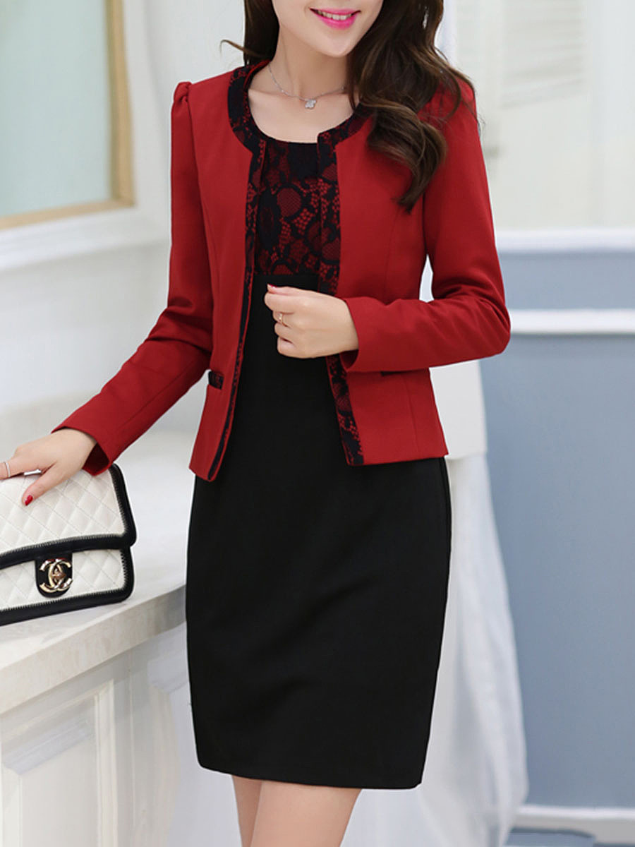 Color Block Decorative Lace Blazer And Bodycon Dress