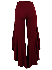 Solid Asymmetric Flounce Hem Flared Casual Pants