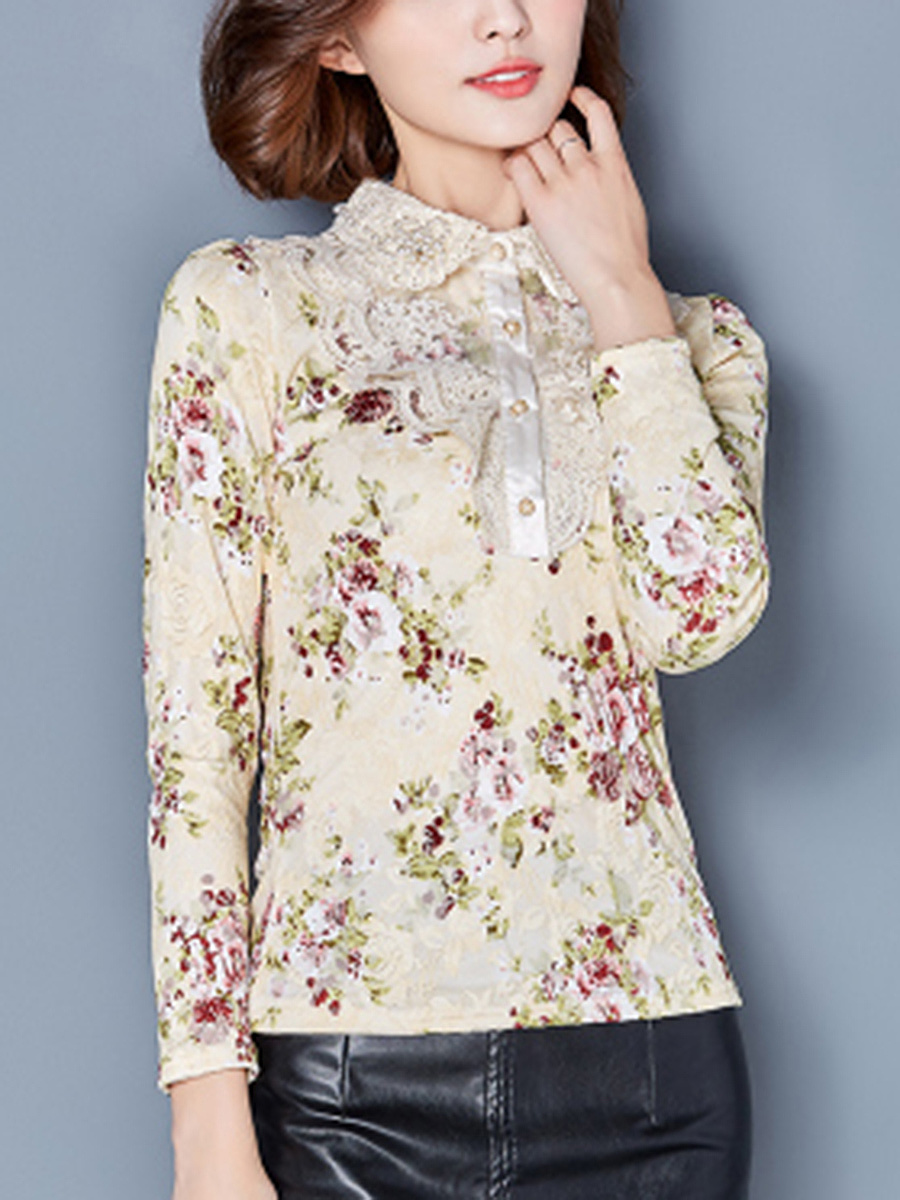 Polo Collar  Beading  Floral Printed Blouse