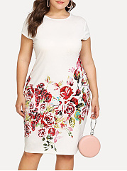 Round Neck  Floral Plus Size Bodycon Dress