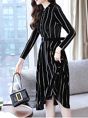 Round Neck  Single Breasted  Striped Skater Dress