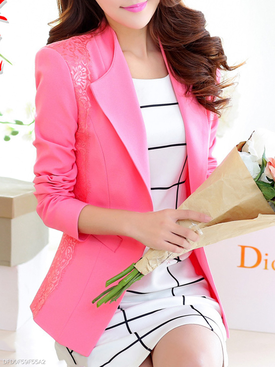 Lapel Plain Decorative Lace Single Button Blazer