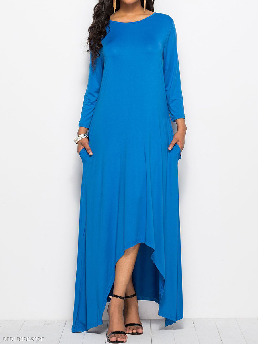 Round Neck  Asymmetric Hem  Plain Daily Maxi Dress