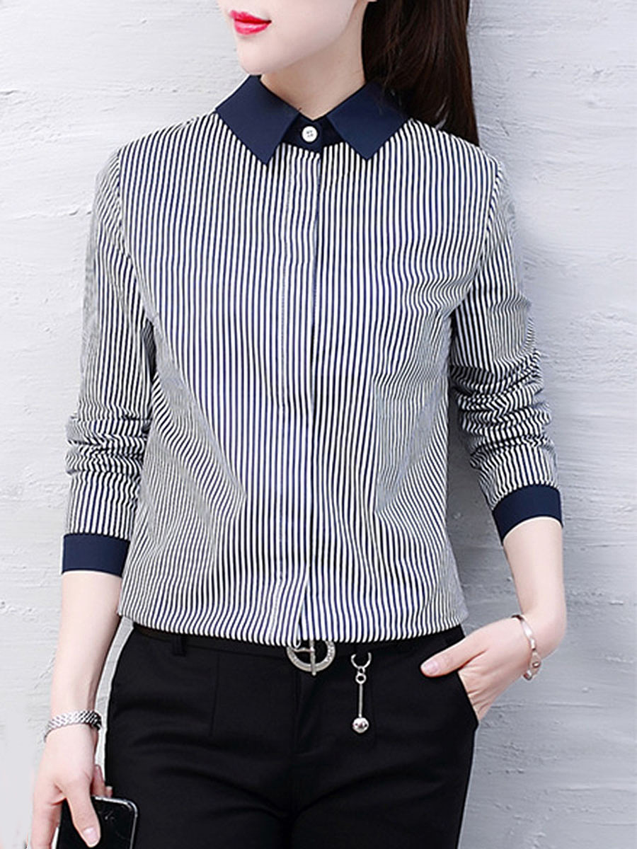 Fold-Over Collar  Vertical Striped Blous
