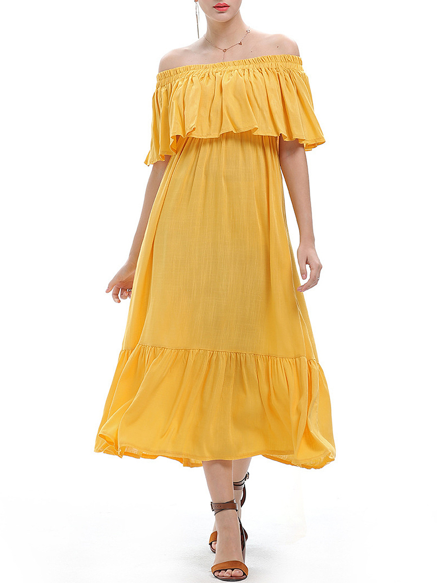 Off Shoulder Ruffled Hem Plain Maxi Dress