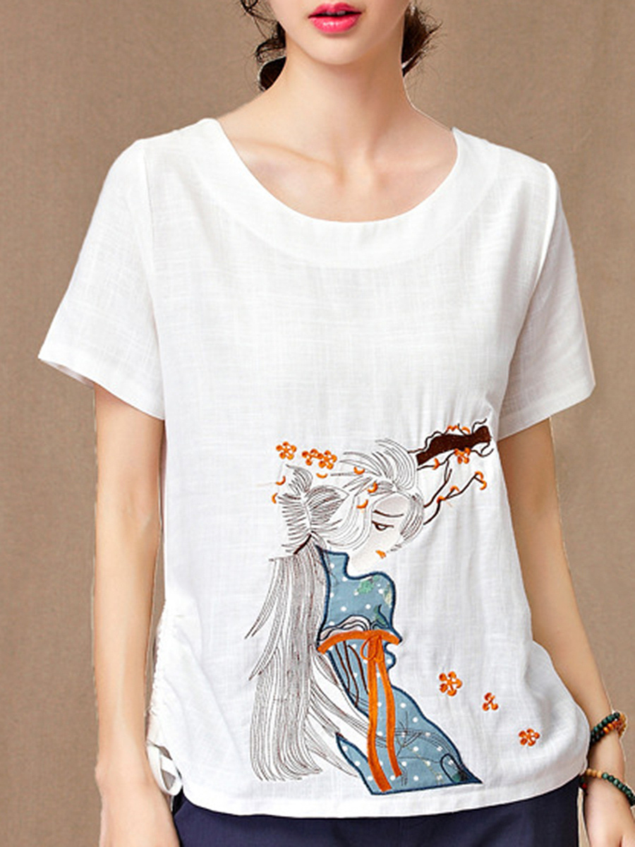 Round Neck Cartoon Printed Short Sleeve T-Shirt