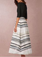 V-Neck  Color Block Printed Date Maxi Dress
