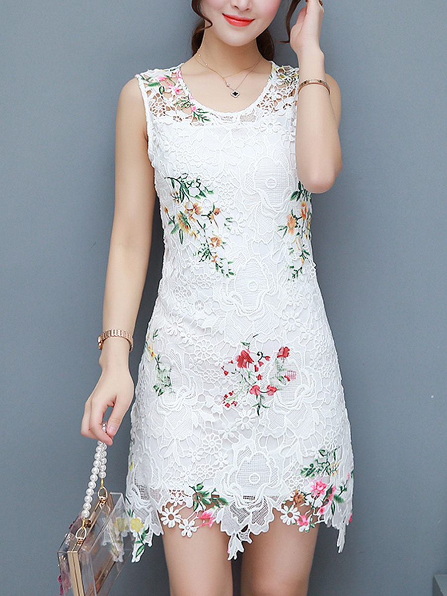 Round Neck Floral Hollow Out Lace Mini Bodycon Dress