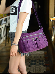 Nylon Waterproof Light Multi-Pockets Shoulder Bag Crossbody Bag
