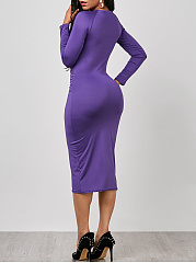 Women Keyhole Ruched Solid Midi Bodycon Dress