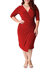 Surplice  Plain Plus Size Bodycon Dresses